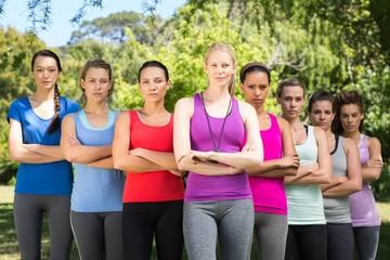 Fitness group looking at camera