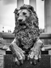 Russia, Moscow, bronze lion statue
