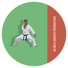The emblem, the man is engaged in karate.