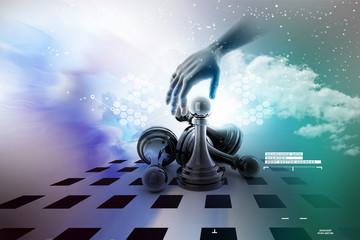 Hand picking the black pawn