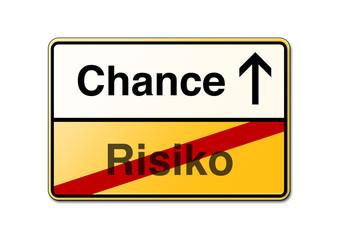 Chance Risiko Schild Wegweiser