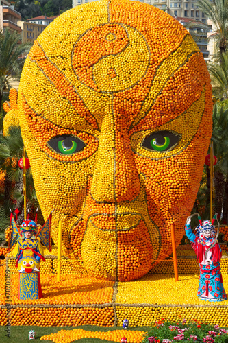 Papiers peints Statue Lemon Festival, Menton, France, Feb 20, 2015