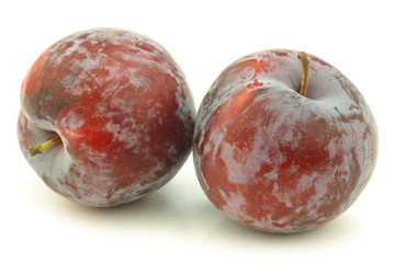 fresh red plums on a white background