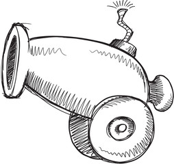 Doodle Sketch Cannon Vector Illustration Art