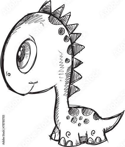 Doodle Sketch Dinosaur Vector Illustration Art - 78780783