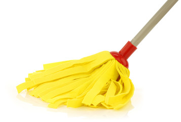 yellow cleaning mop isolated on white background
