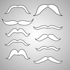Set of mustache (mustache collection), retro style, vector illus