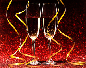 Pair glass of champagne. studio shot