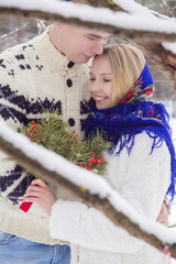 Winter love story with young couple