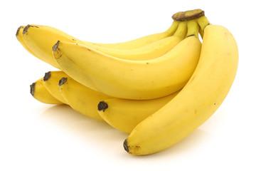 fresh bananas on a white background