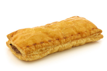 Dutch traditional sausage roll on a white background