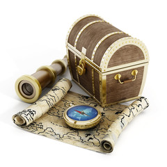 Treasure chest, map, compass and binoculars