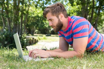 Hipster using laptop in the park