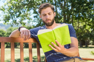 Young man reading on park bench