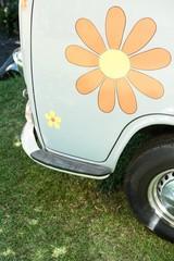 Flower sticker on side of van