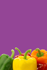 colorful mixed paprika's (capsicum) on a purple background