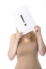 Model Released. Young Woman Holding Exclamation Sign