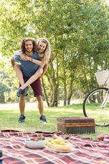 Cute couple having a picnic