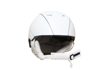 White ski helmet under the light background