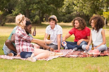 Happy friends in the park having picnic
