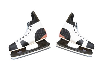 Man's hockey skate isolated on white background