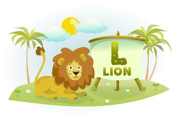 Funny Cartoon Alphabet L With Lion