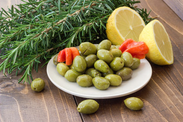 Marinated olives with peppers.