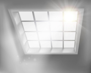 Sunlit window. Vector illustration.