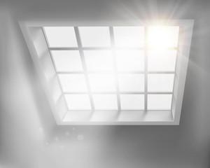 Sunlit window. Vector illustration.