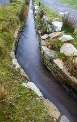 Leat, lavada, old channel carrying water, Dartmoor England.