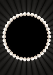 Illustration of pearl necklace isolated on a black background