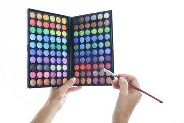Color palette with brushes for make-up in studio white backgroun