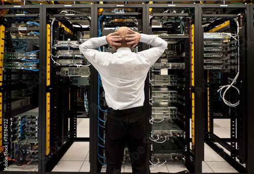 Leinwanddruck Bild Trouble in data center