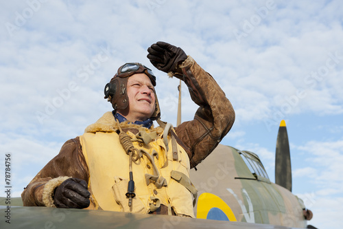 Leinwanddruck Bild WW2 RAF Pilot With Hurricane Aircraft