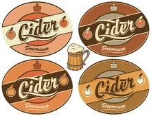 Set of four vector labels for cider