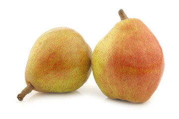 "fresh ""doyenne de comice"" pears on a white background"