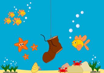 Funny and cute sea life cartoon illustration
