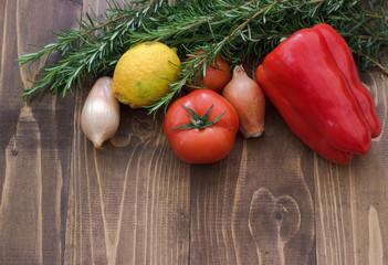 Vegetables on board.