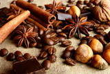 Aromatic assortment of chocolate,coffee,anise, and cinnamon on l poster