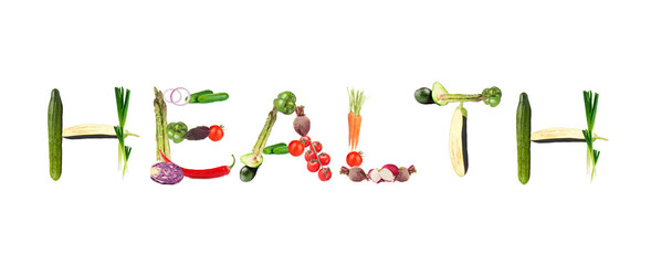 Word Health made of vegetables isolated on white