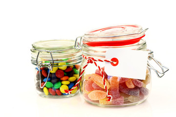 glass jars with  colorful candy with room for your text or image