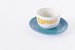 Coffee cup and plate on a white backgound