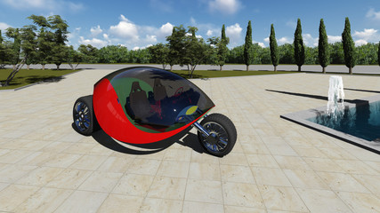 Futuristic car in the city. Raster. 2