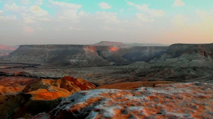 Canyon Ein-Avdat in Negev desert at the dusk