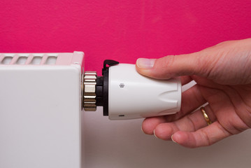 Radiator thermostat and hand - pink and white