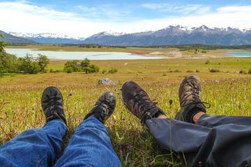 Randonneurs au repos en Patagonie