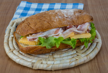 Ciabatta with cheese and bacon