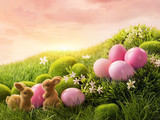 Fototapety Pink easter eggs and rabbit