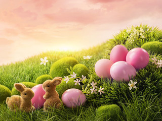 Pink easter eggs and rabbit