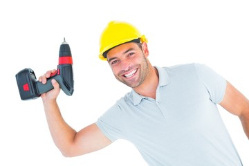 Smiling repairman holding power drill